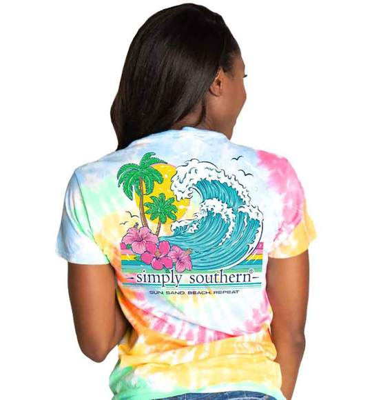 Simply Southern Women T-Shirt - Beach Waves Repeat - Classic Tie Dye