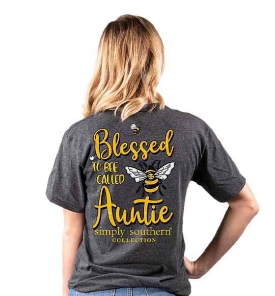 Simply Southern Women T-Shirt - Blessed To Be Called Auntie - Dark Heather Grey