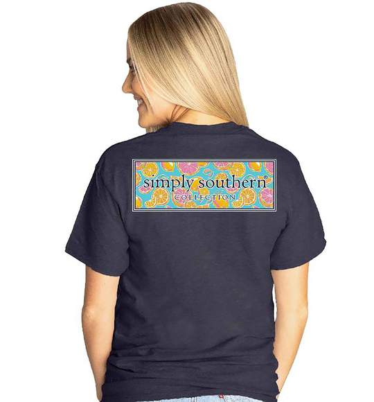 Simply Southern Women T-Shirt - Citrus Fruit Logo - Heather Navy