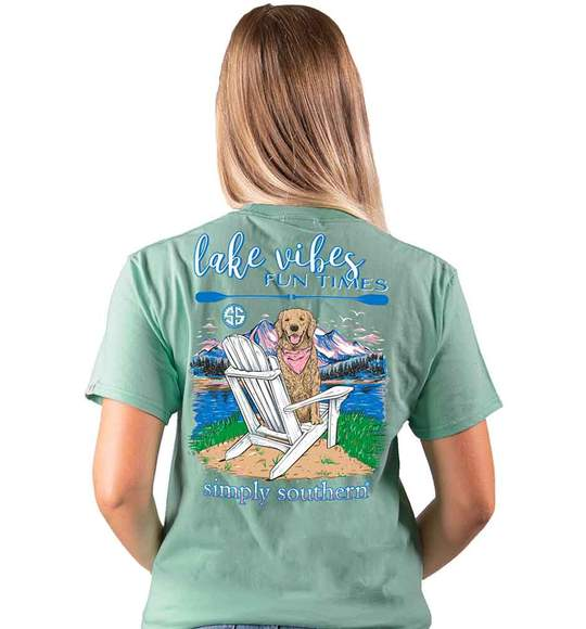 Simply Southern Women T-Shirt - Dog Mountains - Lake Vibes Fun Times