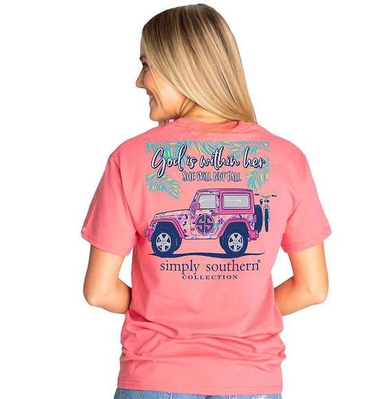 Simply Southern Women T-Shirt - God Is Within Her - Jeep - Color Begonia