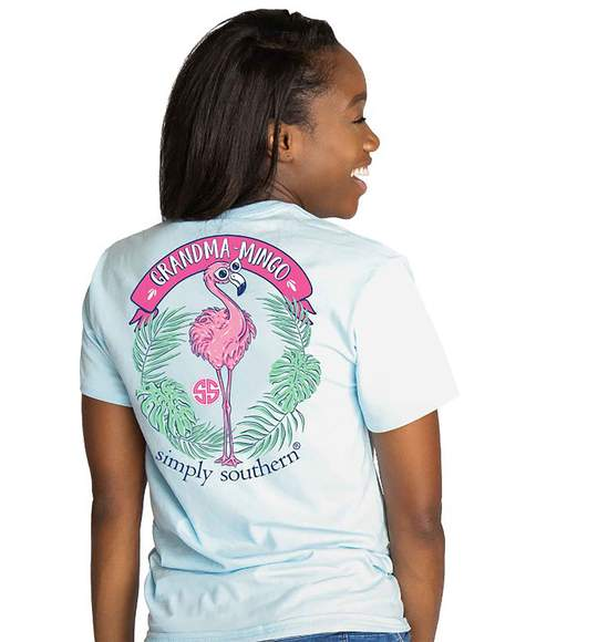 Simply Southern Women T-Shirt - Grandma Mingo Flamingo - Ice Blue