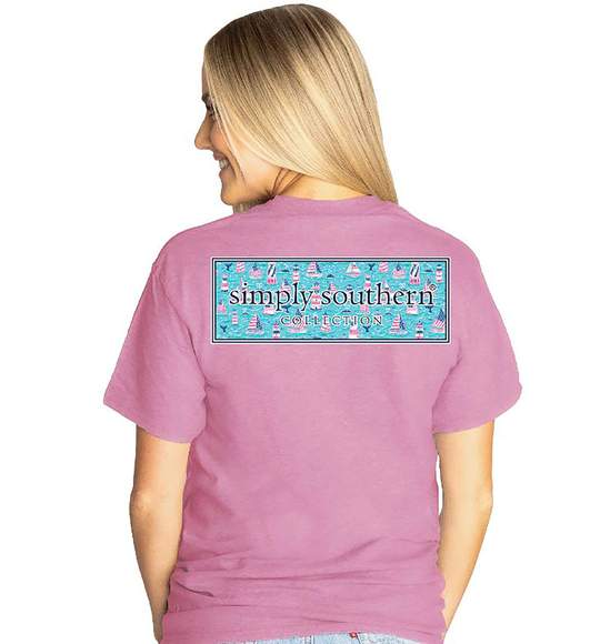 Simply Southern Women T-Shirt - Lighthouse Logo - Plum Rose Pink