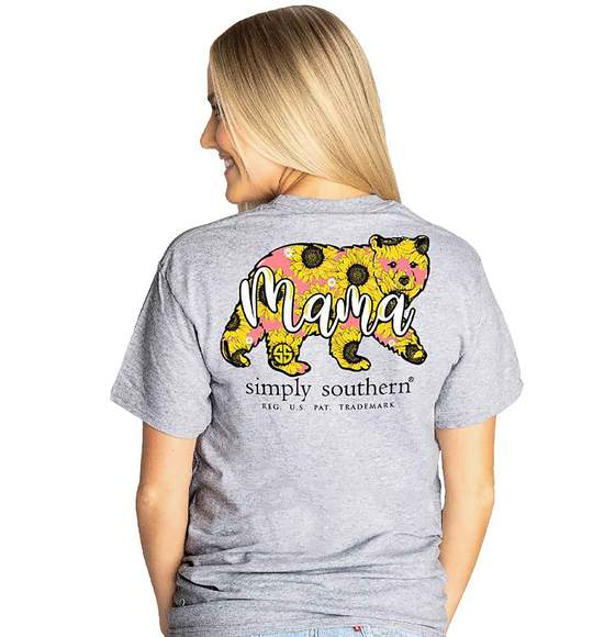 Simply Southern Women T-Shirt - Mama Bear - Sun Flower - Heather Grey
