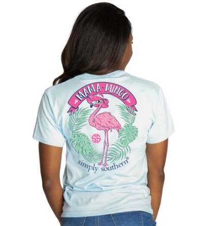 Simply Southern Women T-Shirt - Mama Mingo Pink Flamingo - Ice Blue