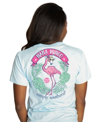 Simply Southern Women T-Shirt - Nana Mingo Pink Flamingo - Ice Blue