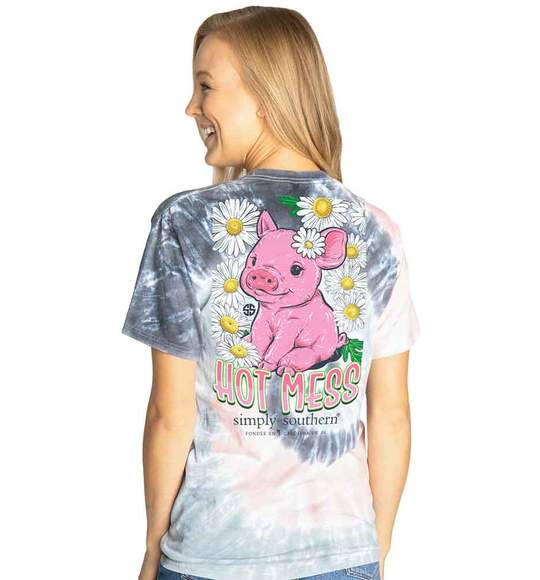 Simply Southern Women T-Shirt - Pig - Hot Mess - Flower Pastel