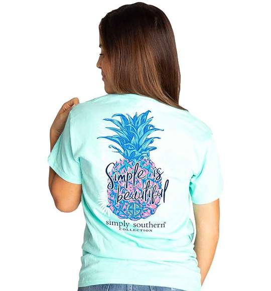 Simply Southern Women T-Shirt - Pineapple Simple Is Beautiful - Surf Blue