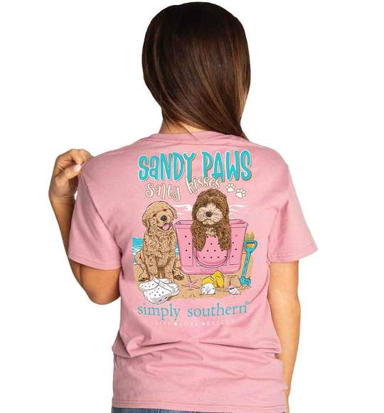 Simply Southern Women T-Shirt - Puppy Dogs Sandy Paws Salty Kisses - Beach - Pink Rose