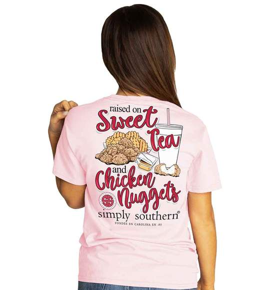 Simply Southern Women T-Shirt - Raised On Sweet Tea And Chicken Nuggets
