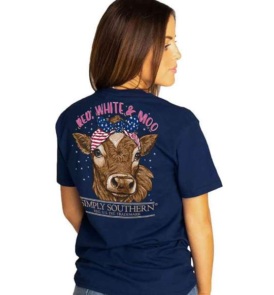 Simply Southern Women T-Shirt - Red White Moo - USA Flag - Cow - Navy