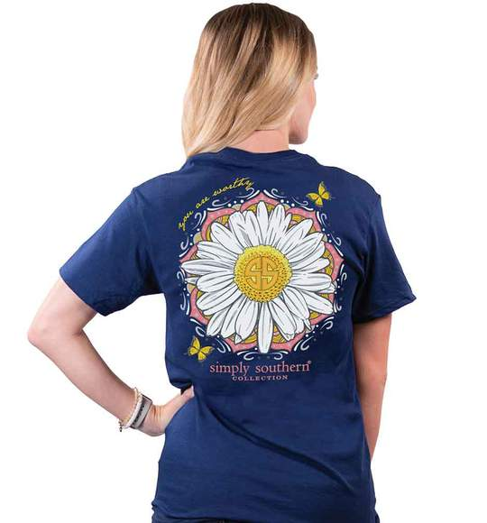 Simply Southern Women T-Shirt - Sunflower - You Are Worthy - Blue Midnight