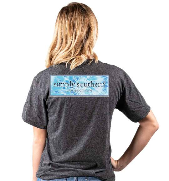 Simply Southern Women T-Shirt - Tie Dye Logo - Dark Heather Grey