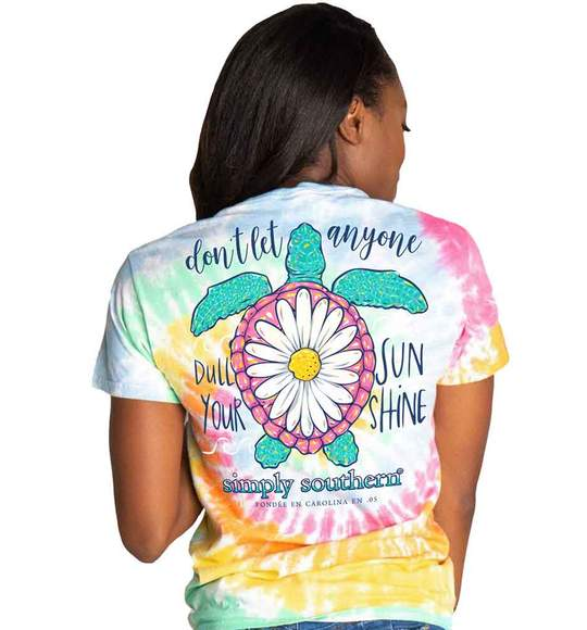 Simply Southern Women T-Shirt - Turtle Flower - Don't Let Anyone Dull Your Sunshine - Tie Dye