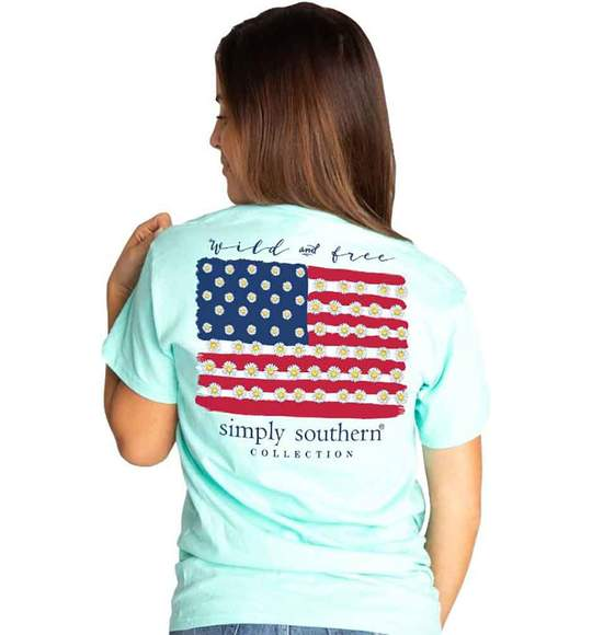 Simply Southern Women T-Shirt - USA Flag - Wild And Free - Surf Blue