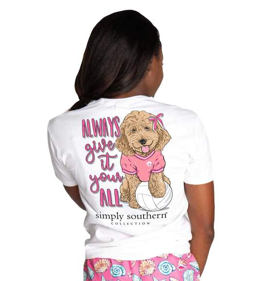 Simply Southern Women T-Shirt - Volleyball Dog - Always Give It Your All