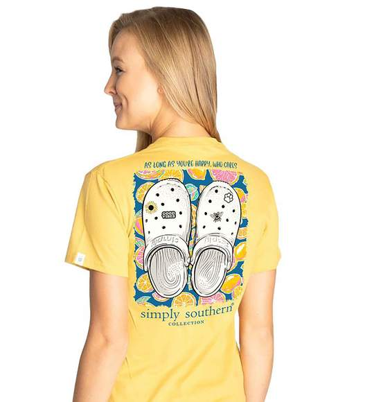 Simply Southern Women T-Shirts - Clogs - As Long As Your Happy - Sunflower