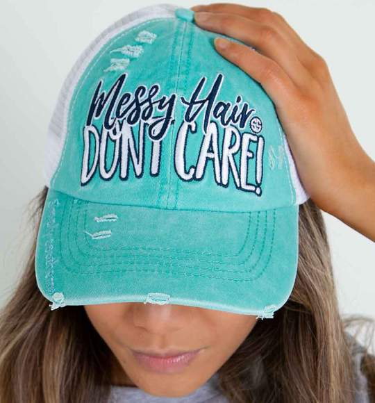 Simply Southern Women Trucker Hat Cap - Messy Hair Don't Care - Teal Color
