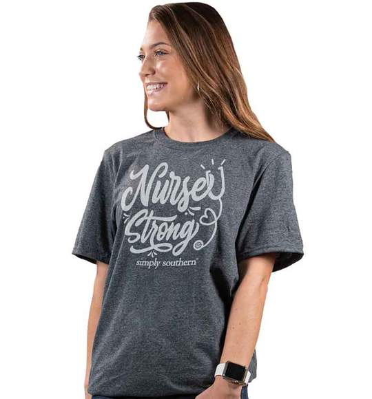 Simply Southern Women Vintage T-Shirt - Nurse Strong - Charcoal
