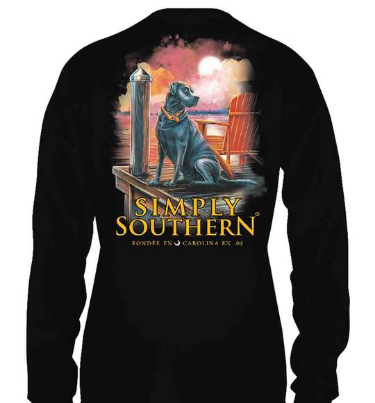 Simply Southern Youth Long Sleeve T-Shirt - Shore Dog - Black