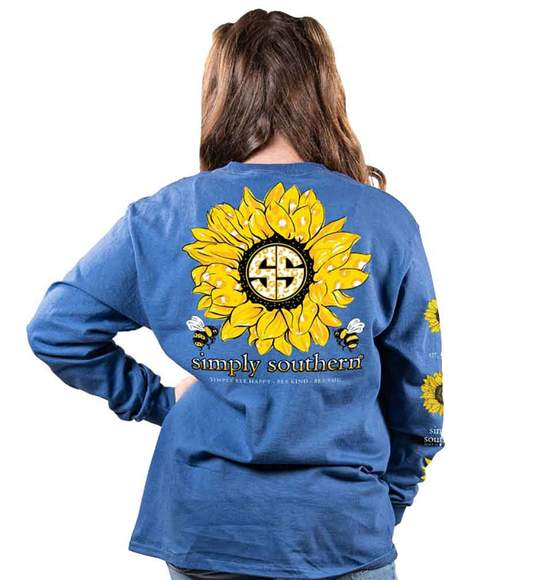 Simply Southern Youth Long Sleeve T-Shirt - Sunflower Bees - Blue Moonrise