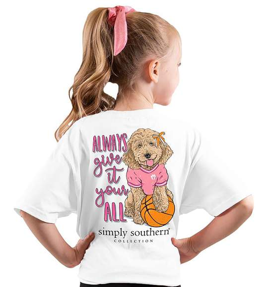 Simply Southern Youth T-Shirt - Basketball - Dog - Always Give It Your All