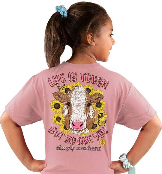 Simply Southern Youth T-Shirt - Cow - Life Is Tough But So Are You