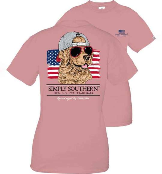 Simply Southern Youth T-Shirt - Dog In Sunglasses And Cap - USA Flag
