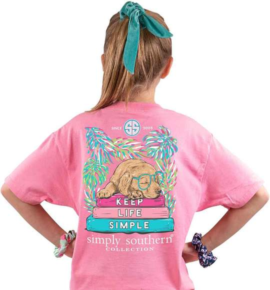 Simply Southern Youth T-Shirt - Dog Keep Life Simple - Pink Flamingo
