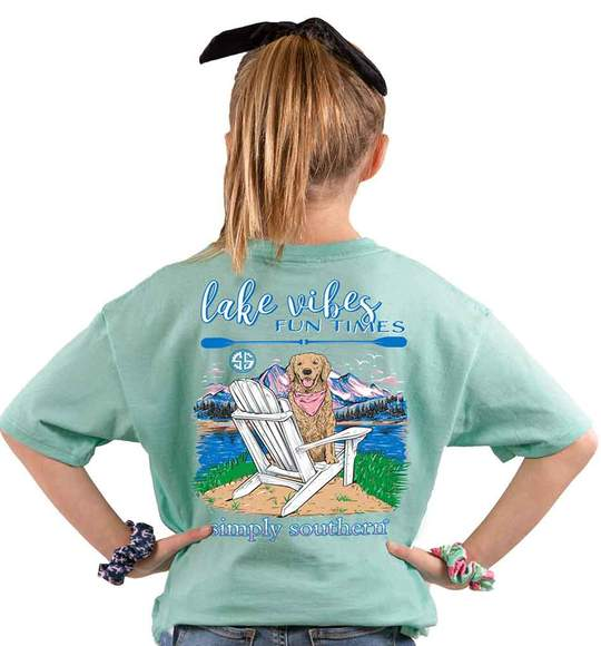 Simply Southern Youth T-Shirt - Dog Mountains - Lake Vibes Fun Times - Green Sea