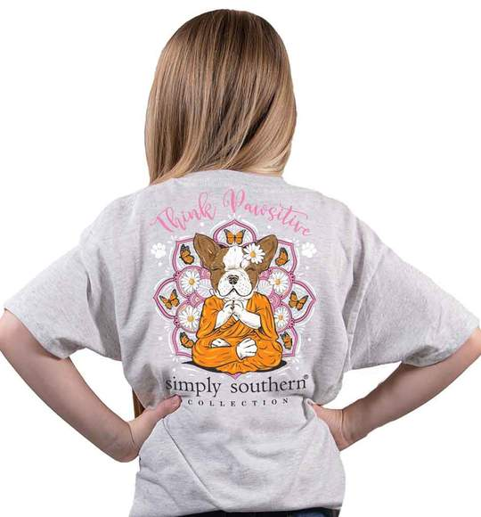 Simply Southern Youth T-Shirt - Dog Think Pawsitive - Butterflies Flowers - Ash