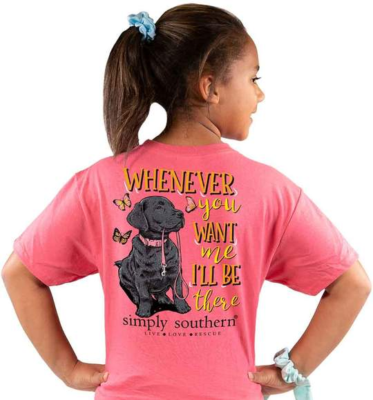 Simply Southern Youth T-Shirt - Dog - Whenever You Want Me I'll Be There