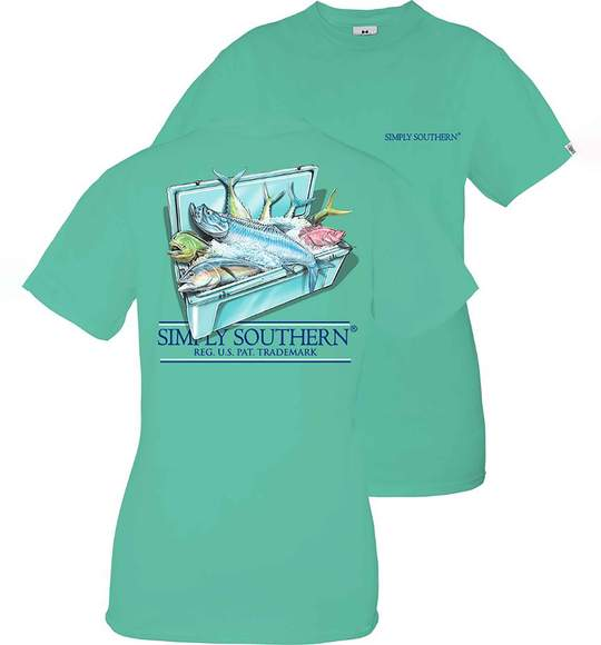 Simply Southern Youth T-Shirt - Fishing Cooler - Green Sea
