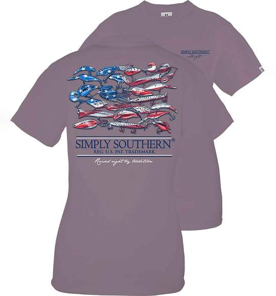 Simply Southern Youth T-Shirt - Fishing Lure - USA Flag - Grey Plum
