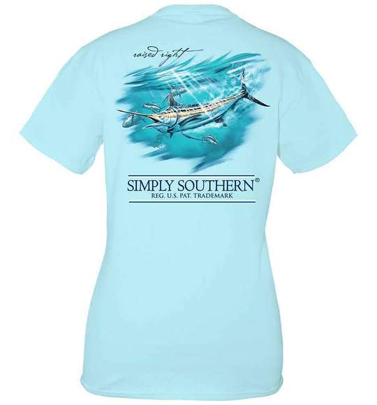 Simply Southern Youth T-Shirt - Marlin Deep Sea Fishing - Ice Blue