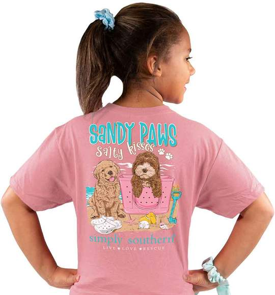 Simply Southern Youth T-Shirt - Puppy Dogs Sandy Paws Salty Kisses - Beach - Pink Rose