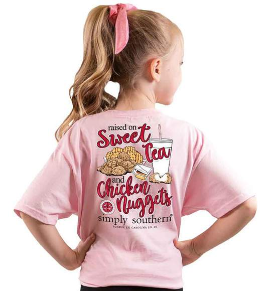 Simply Southern Youth T-Shirt - Raised On Sweet Tea And Chicken Nuggets