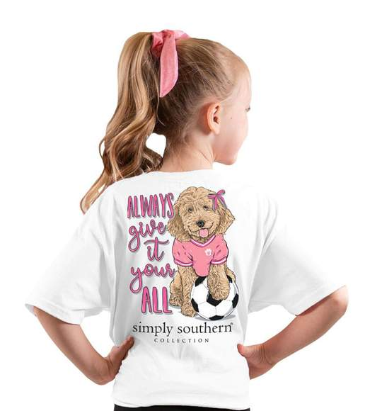 Simply Southern Youth T-Shirt - Soccer - Dog - Always Give It Your All