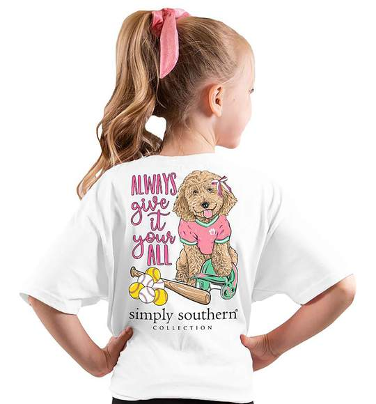 Simply Southern Youth T-Shirt - Softball - Dog - Always Give It Your All
