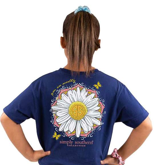 Simply Southern Youth T-Shirt - Sunflower - You Are Worthy - Blue Midnight