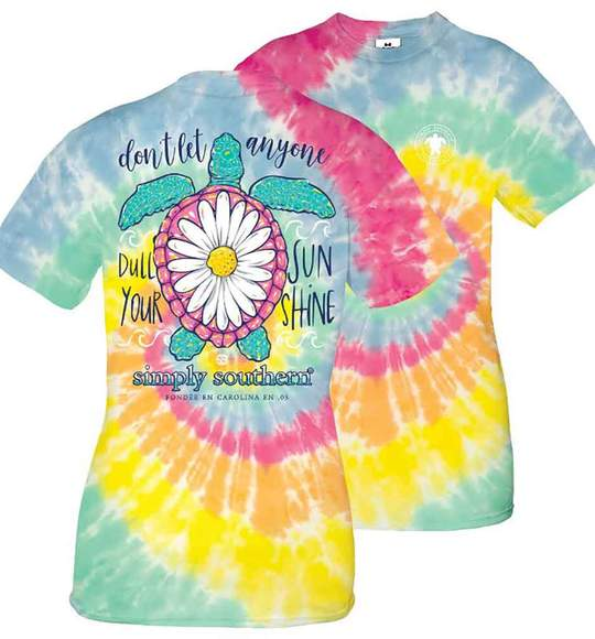 Simply Southern Youth T-Shirt - Turtle Flower - Don't Let Anyone Dull Your Sunshine - Tie Dye