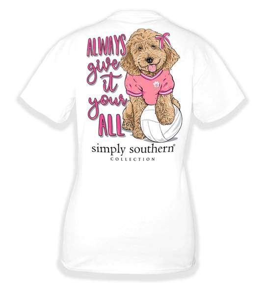 Simply Southern Youth T-Shirt - Volleyball - Dog - Always Give It Your All