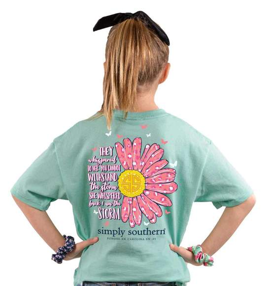Simply Southern Youth T-Shirt - Withstand The Storm - Flower Pattern